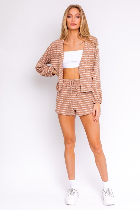 Mocha White Striped Knit Shorts