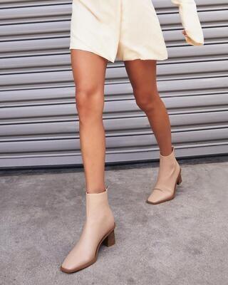 Cashew Wooden Heel Booties