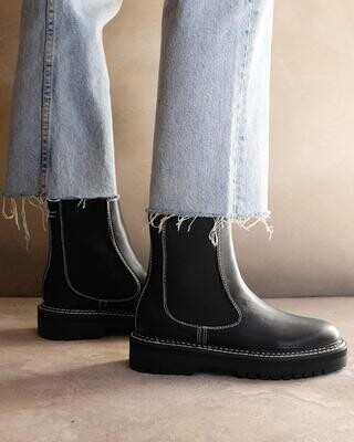 Black White Contrast Chunky Boot