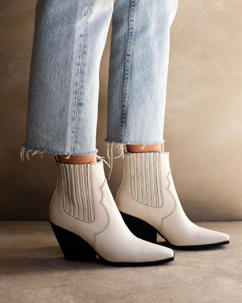 Bone Contrast Stitch Cowboy Boot