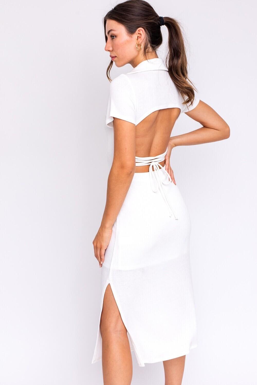 Ivory Open Back Collared Midi Dress