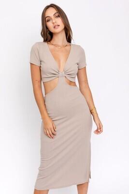 Taupe Short Sleeve Cutout Midi Dress