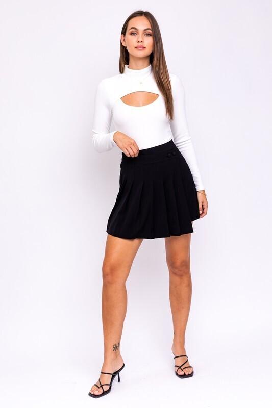 Black Asymmetric Pleated Skirt