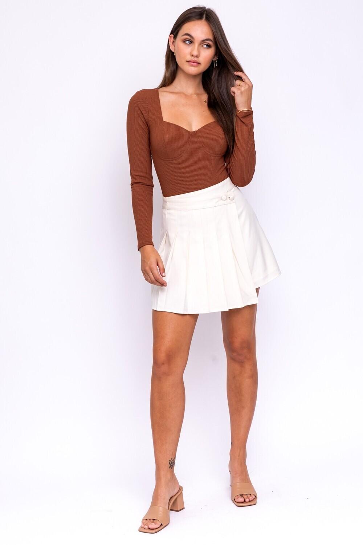 Ivory Asymmetric Pleated Skirt