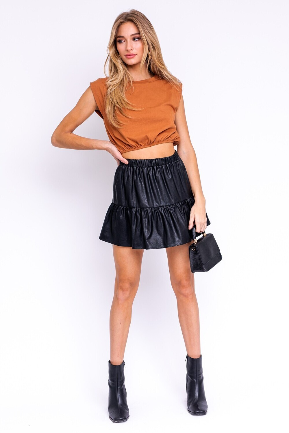 Black Faux Leather Tiered Skirt