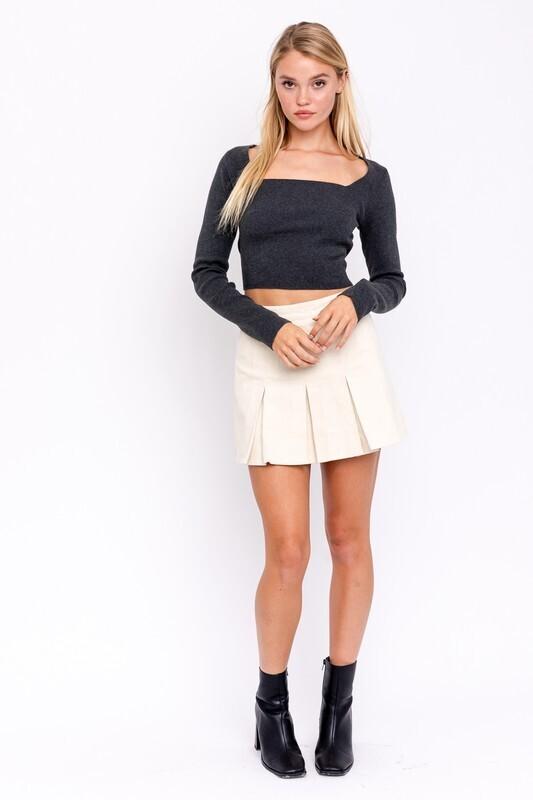 Cream Corduroy Pleated Skirt