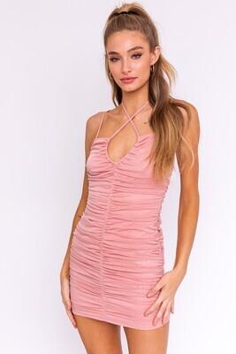 Blush Ruched Mesh Mini Dress