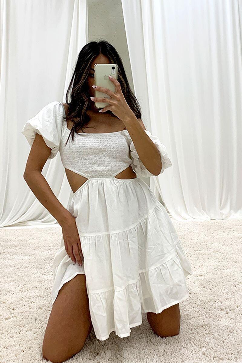 White Cutout Tiered Dress