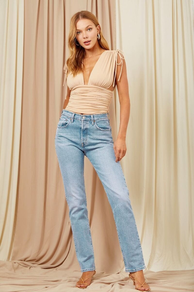 Nude Ruched Plunge Top