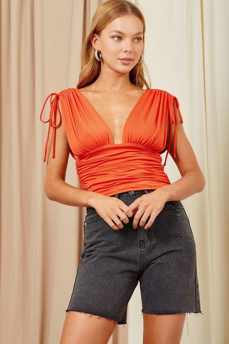 Red-Orange Ruched Plunge Top