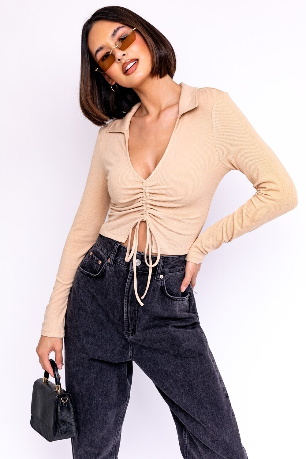 Tan Collared Ruched Crop Top