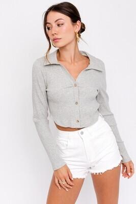 Grey Collared Long Slv Crop Top