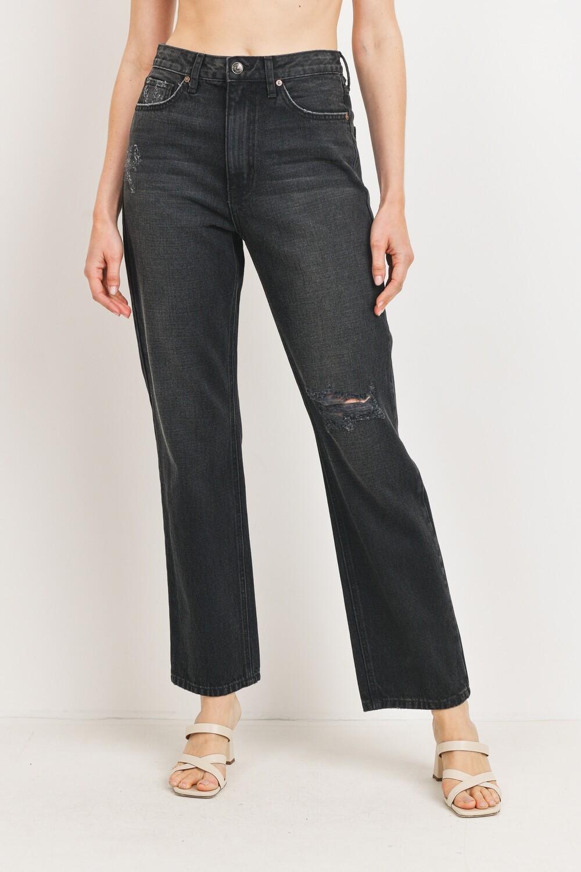 Washed Black Destroyed Straight Leg Jeans