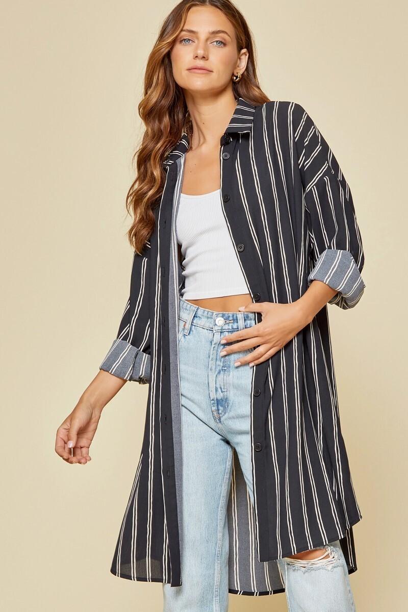 Black Striped Button Tunic