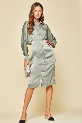 Sage Satin Midi Button Dress