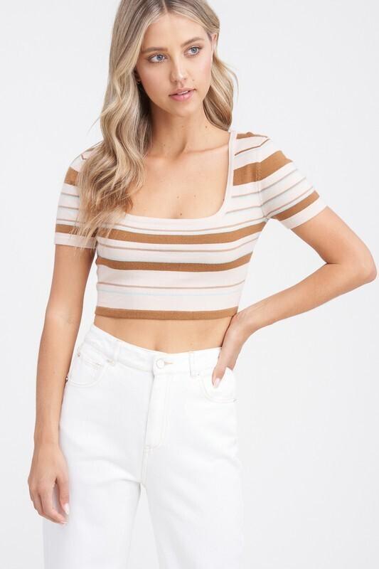 Tan Multi Striped Crop Sweater