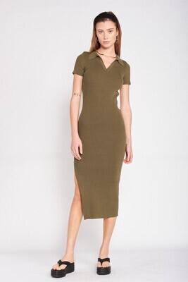 Olive Backless Knit Midi Dress