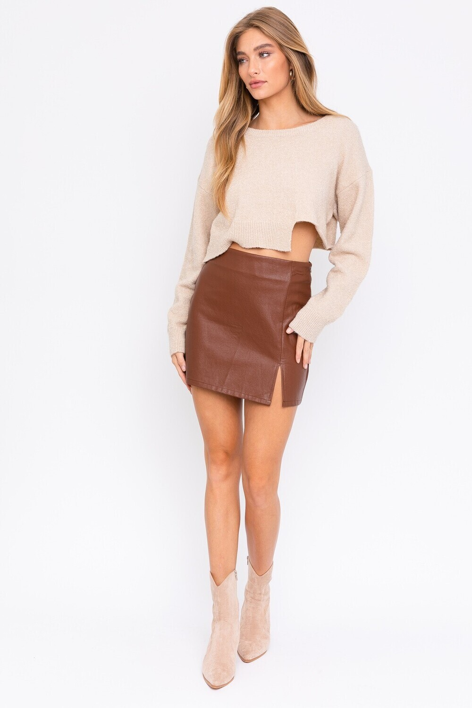 Rust Faux Leather Slit Mini Skirt