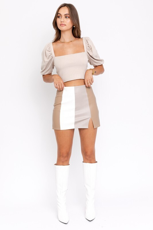 Taupe Color Block Faux Leather Skirt