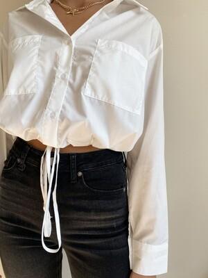 White Elastic Button Down Blouse