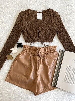 Brown Faux Leather Tie Shorts