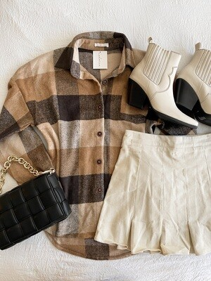Brown Taupe Plaid Shacket