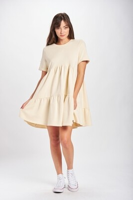 Natural French Terry Babydoll Dress