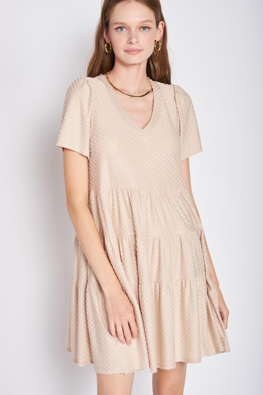 Taupe Swiss Dot Ruffle Dress