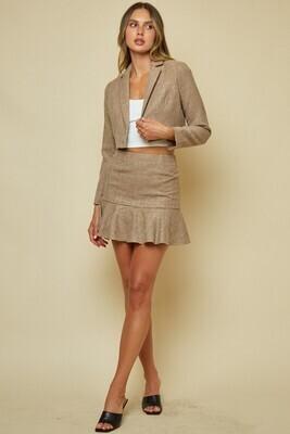 Khaki Tweed Ruffle Skirt