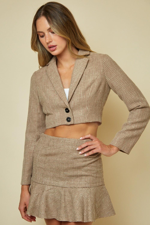 Khaki Tweed Cropped Blazer