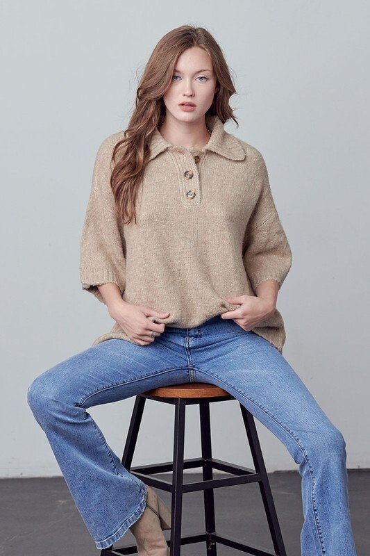 Taupe Oversized 3/4 Polo Sweater