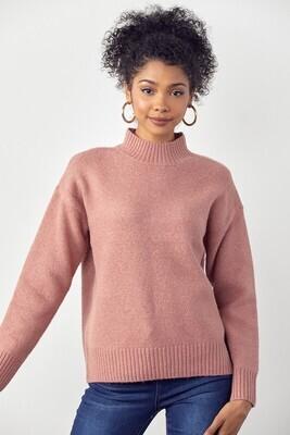 Mauve Ribbed Mock Neck Sweater