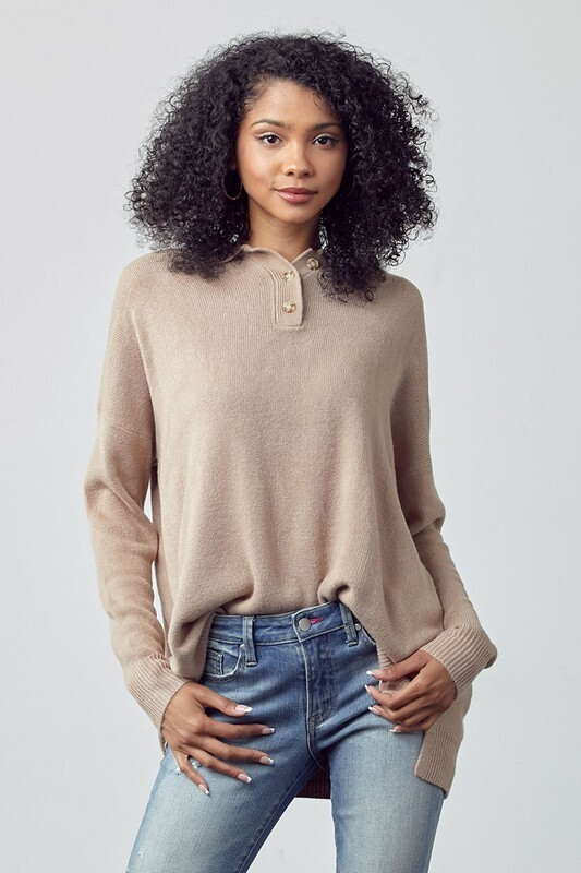 Taupe Oversized Polo Sweater