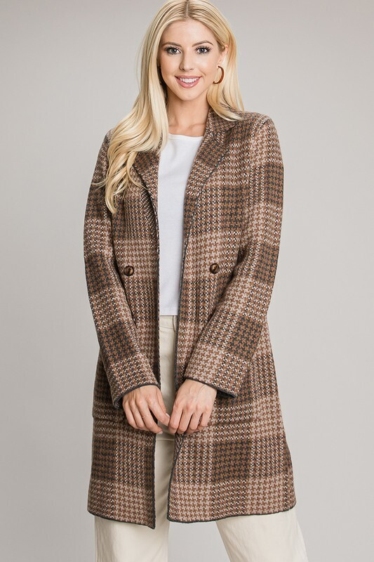Mocha Collared Plaid Knit Coat