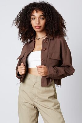 Brown Cropped Utility Jacket