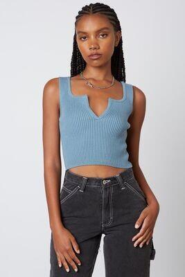 Slate Blue V-Neck Sweater Crop