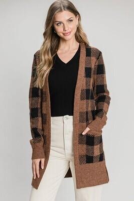 Black-Brown Check Plaid Cardigan