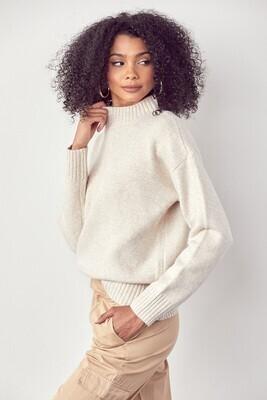 Oatmeal Ribbed Mock Neck Sweater