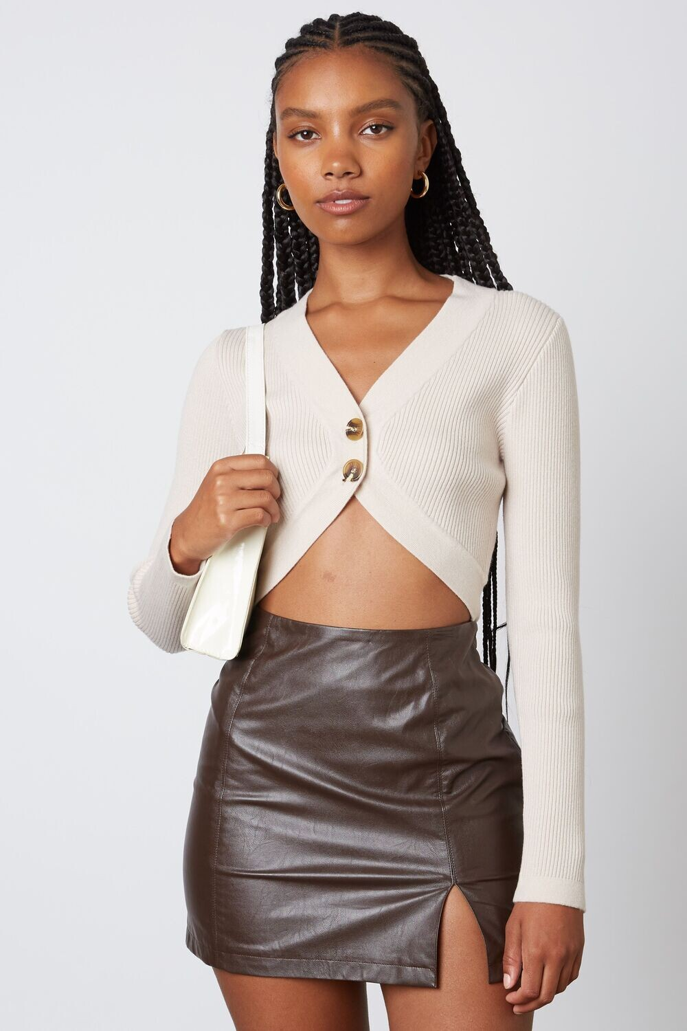 Stone Cropped Button Sweater