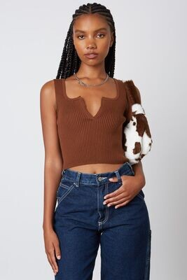 Brown V-Neck Sweater Crop