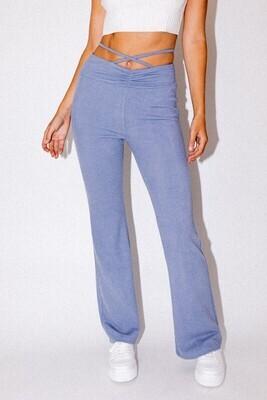 Dusty Blue Strap Detail Pants