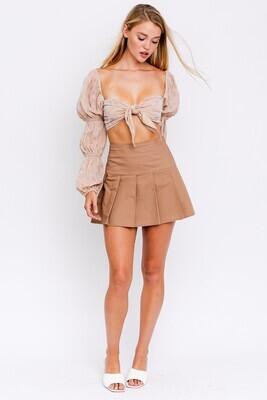 Khaki Poplin Pleated Tennis Skirt