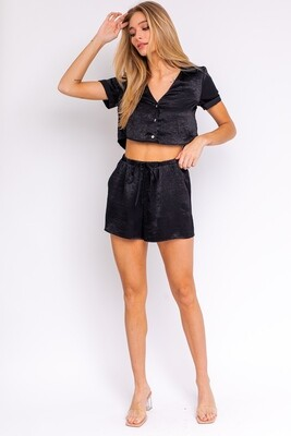 Black Shiny Drawstring Shorts