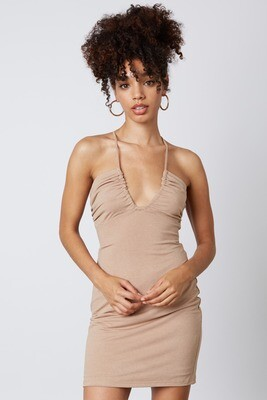Taupe Scoop Cinched Cutout Dress
