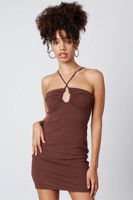 Brown Scoop Cinched Cutout Dress