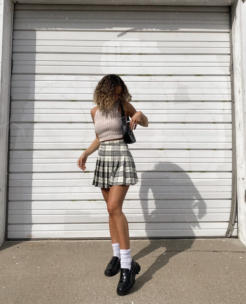 Green-Blue Checkered Pleated Skirt