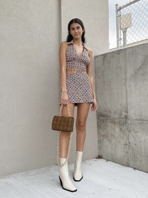 Brown Chainlink Tie Wrap Skirt