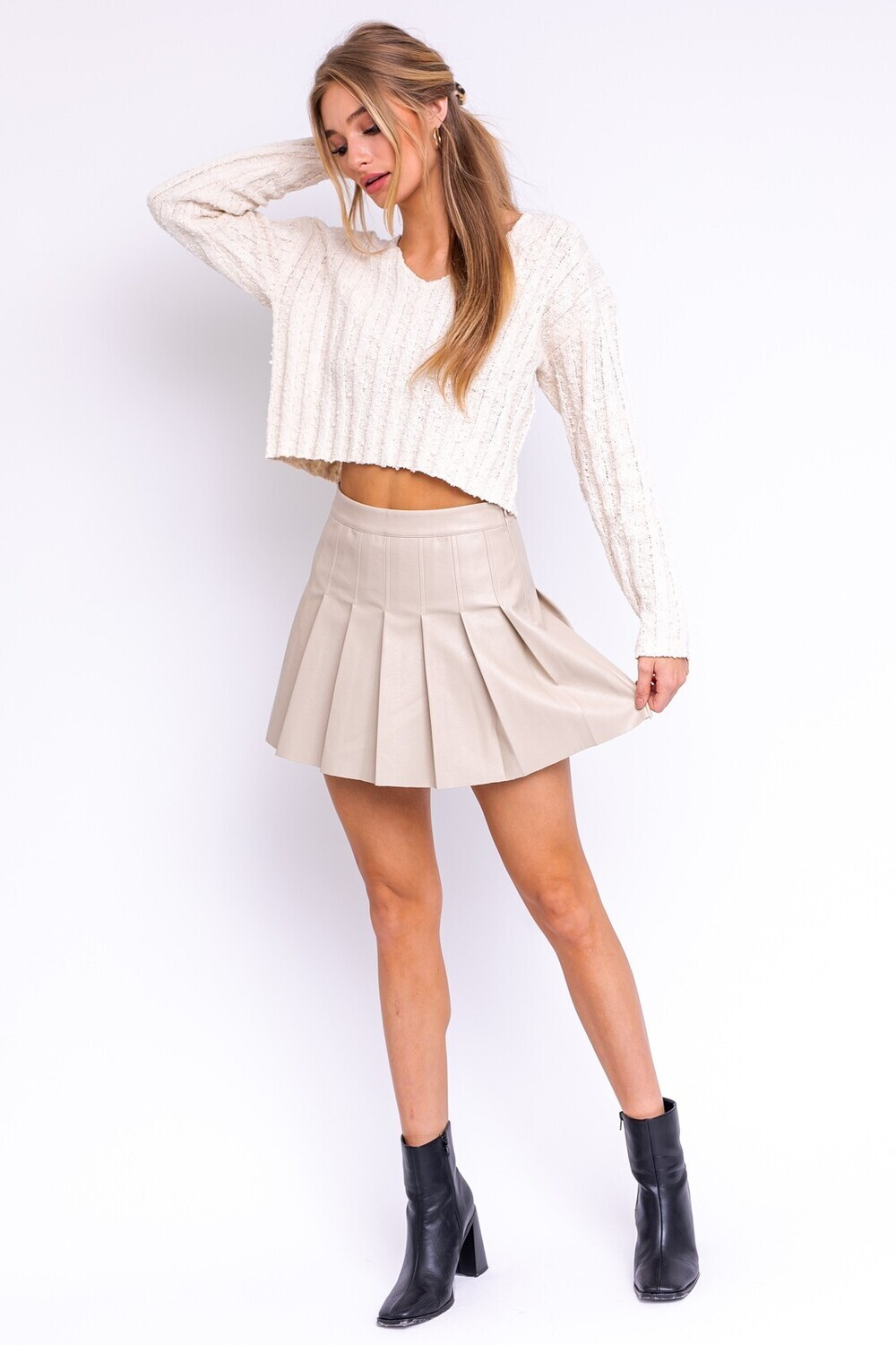 Taupe Faux Leather Tennis Skirt