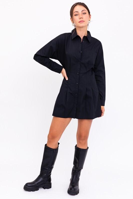 Black Pleated Button Dress