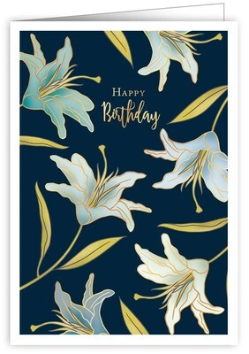 "CARTE DE VŒUX ""HAPPY BIRTHDAY LILIES"""